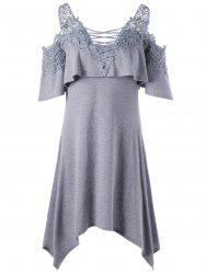 Applique Cold Shoulder Overlay Dress - GRAY