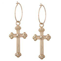 Crucifix Geometric Circle Hoop Drop Earrings