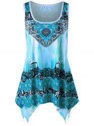 Plus Size Graphic Handkerchief Tank Top - BLUE