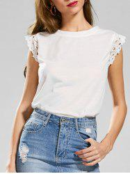 Slit Lace Panel T-shirt sans manches - Blanc