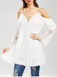 Ruffle Lace Panel Cold Shoulder Tunic