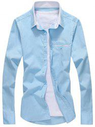 Faux Pocket Long Sleeve Button Down Shirt