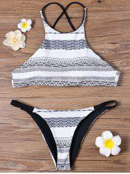 Padded Graphic High Neck Bikini Set