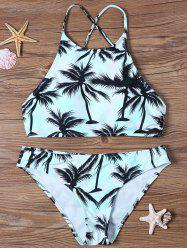 Tropical Print High Neck Bathing Suit