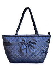 Satin Bowknot Quilted Shoulder Bag - DEEP BLUE