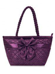 Satin Bowknot Quilted Shoulder Bag - DEEP PURPLE