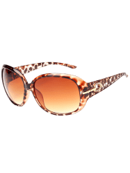 Rhinestone Decoration Anti UV Sunglasses - LEOPARD+DARK BROWN