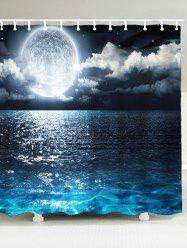Seaside Moon Print Waterproof Bath Curtain