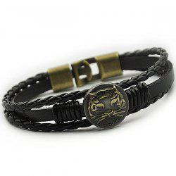 Tiger Patterned Braided Faux Leather Bracelet