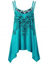 Asymmetric Plus Size Cami Tunic Top - BLUE