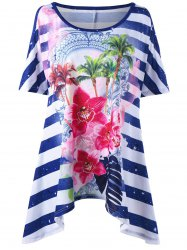 Floral Striped Asymmetric Plus Size T-Shirt