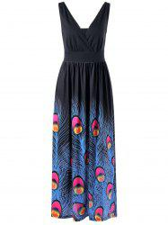 Peacock Feather Print Surplice Maxi Dress