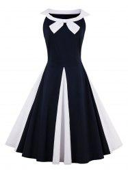 A Line Two Tone Sleeveless Vintage Dress