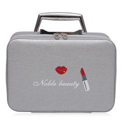 Lip and Lipstick Print Makeup Box - GRAY