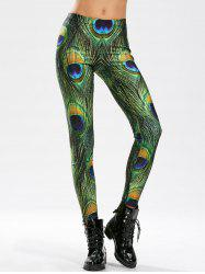 Peacock Feather Print High Waisted Skinny Leggings