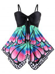 Plus Size Skirted Butterfly Print Blouson Tankini - BLACK