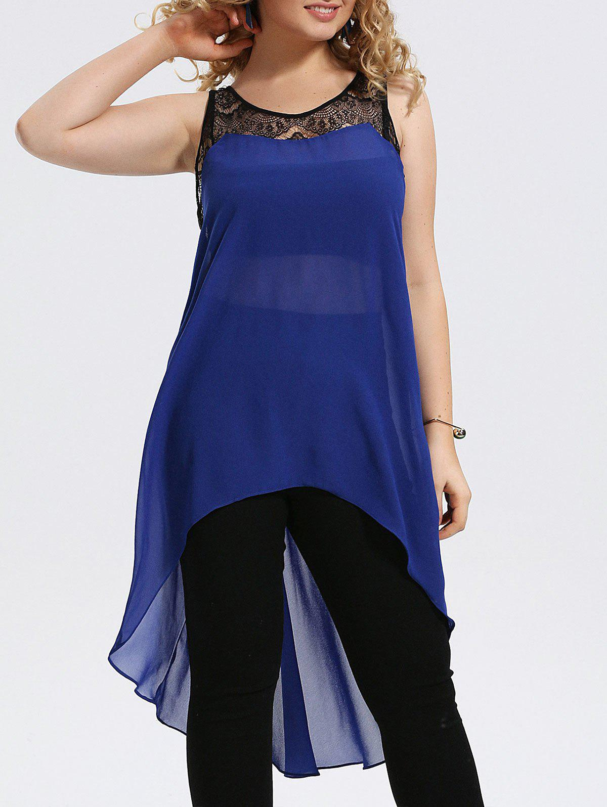 Plus Size Lace Trim Chiffon High Low Tank Top 216253605