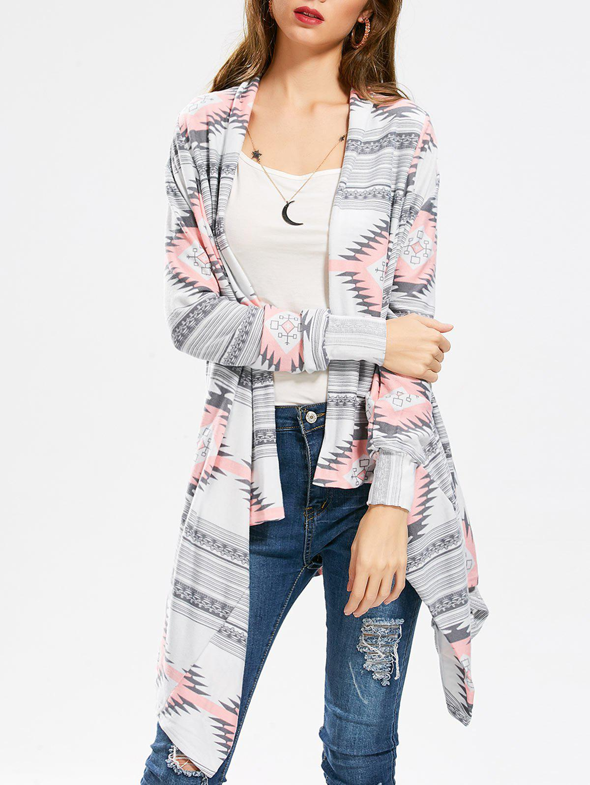 Casual Geometric Printed Long Sleeve Asymmetric Cardigan For WomenWOMEN<br><br>Size: M; Color: PINK; Type: Cardigans; Material: Polyester; Sleeve Length: Full; Collar: Collarless; Style: Fashion; Pattern Type: Print; Season: Fall,Spring; Weight: 0.3600kg; Package Contents: 1 x Cardigan;