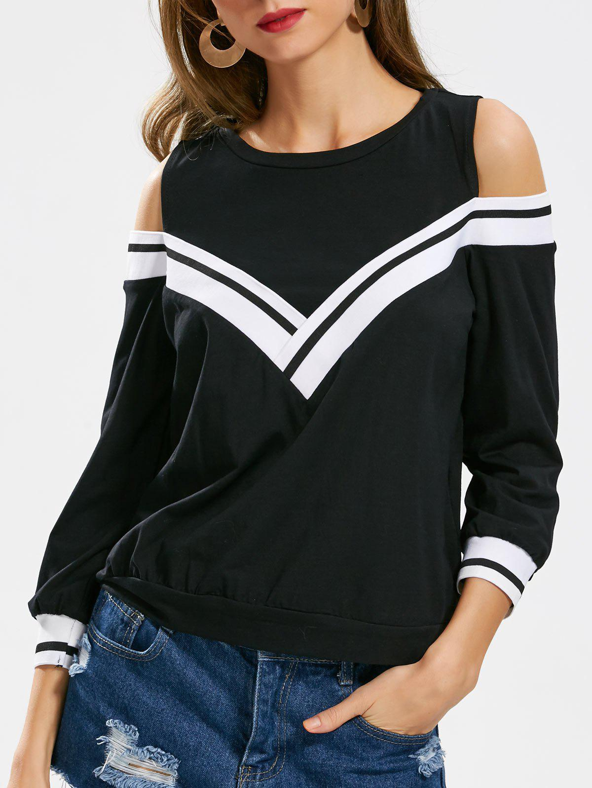 Latest Casual Crew Neck Cold Shoulder Tee