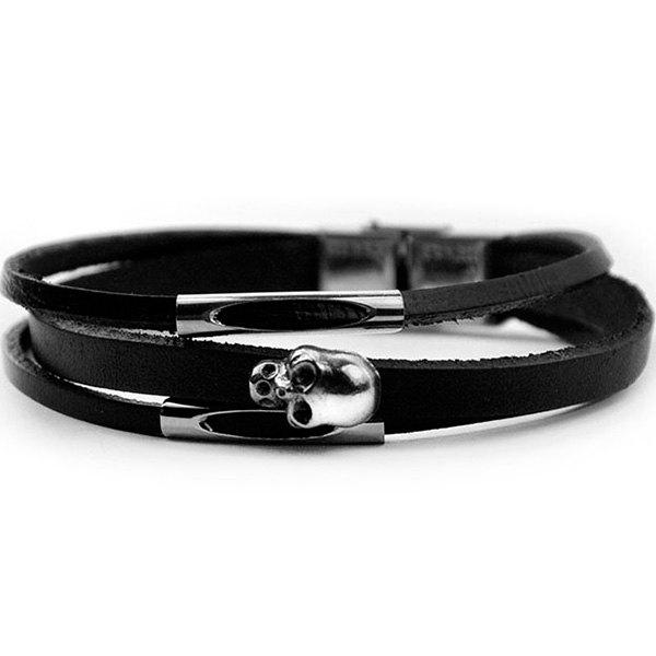 Skull Shape Layered BraceletJEWELRY<br><br>Color: BLACK; Gender: Unisex; Chain Type: Leather Chain; Style: Trendy; Shape/Pattern: Skull; Weight: 0.0100kg; Package Contents: 1 x Bracelet;