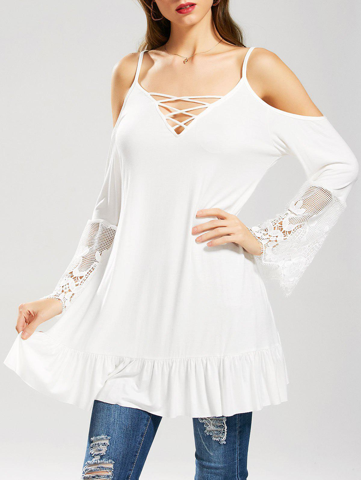 New Ruffle Lace Panel Cold Shoulder Tunic