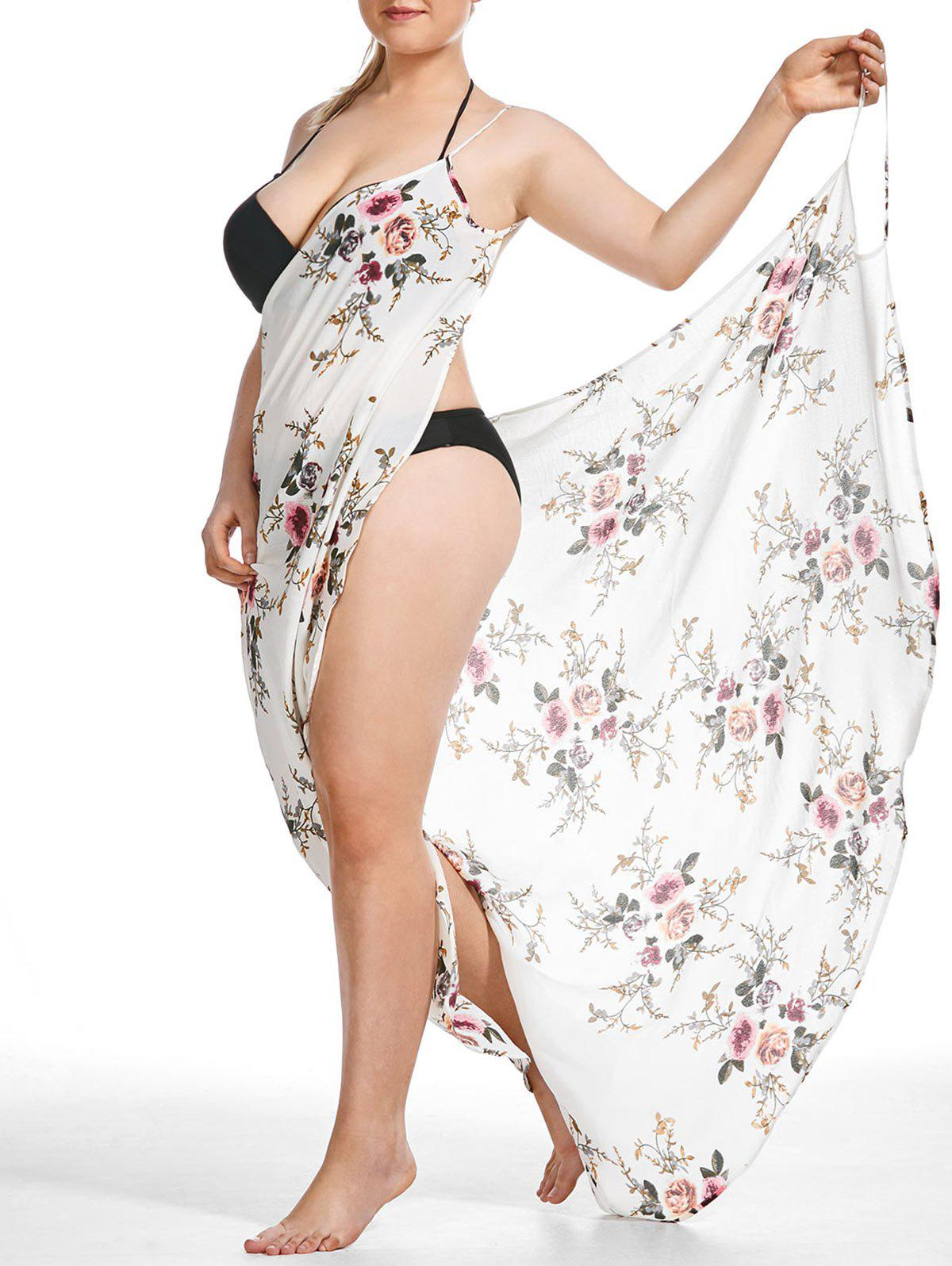 862f939fb3 50% OFF] Tiny Floral Plus Size Beach Cover-up Wrap Dress | Rosegal