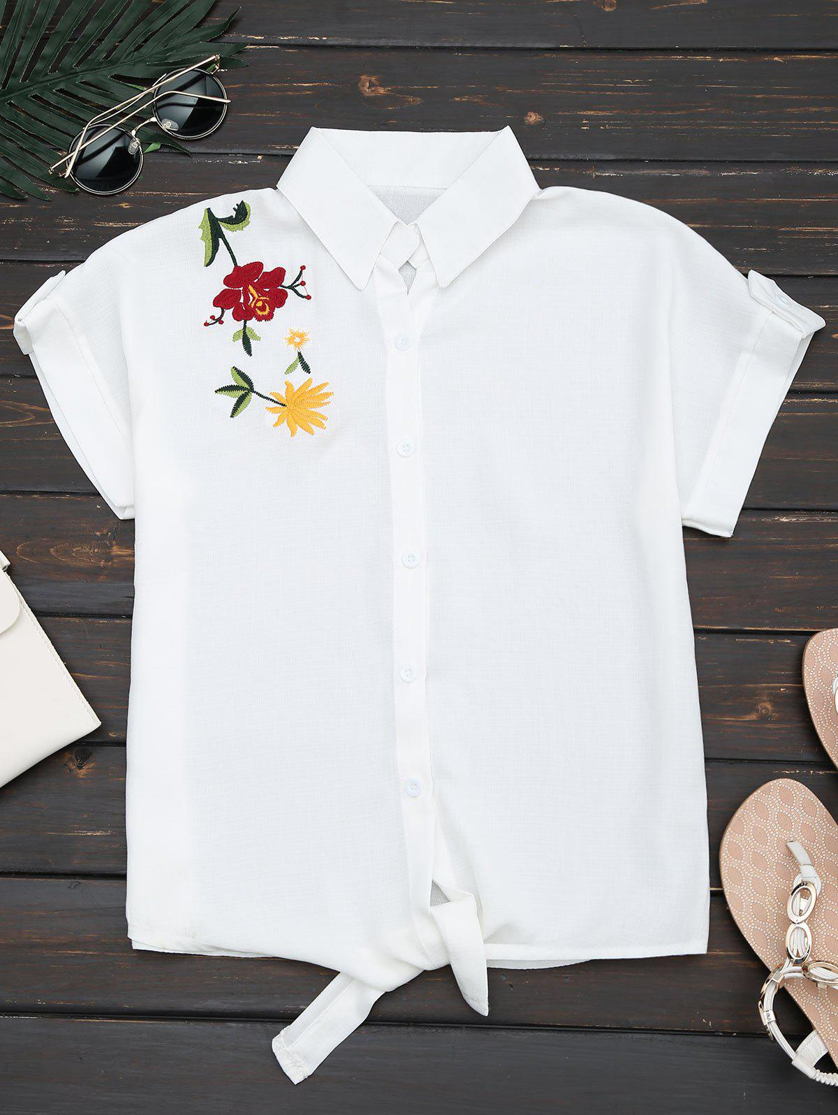 Flower Embroidered Button Up ShirtWOMEN<br><br>Size: S; Color: WHITE; Style: Casual; Material: Cotton Blends,Polyester; Shirt Length: Regular; Sleeve Length: Short; Collar: Shirt Collar; Pattern Type: Flower; Embellishment: Embroidery; Season: Summer; Weight: 0.2100kg; Package Contents: 1 x Shirt;