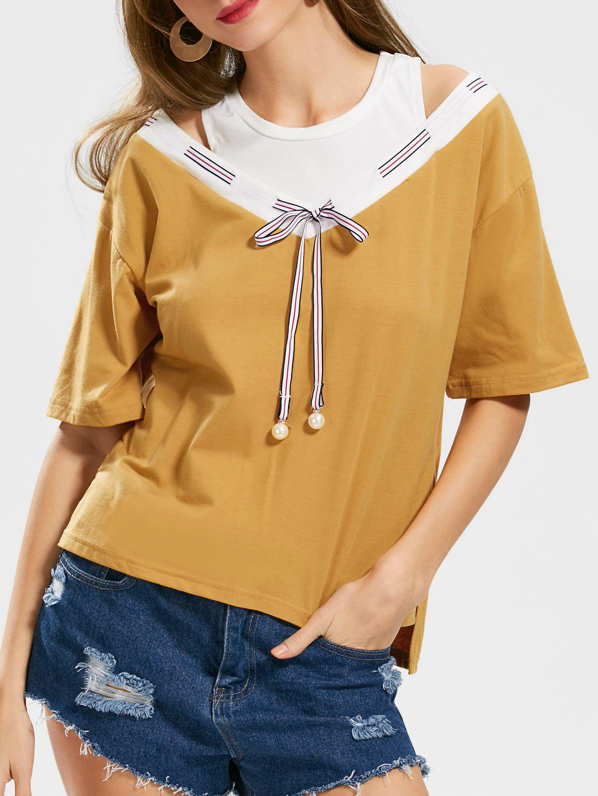 Outfit Two Tone Bowknot Cut Out Top
