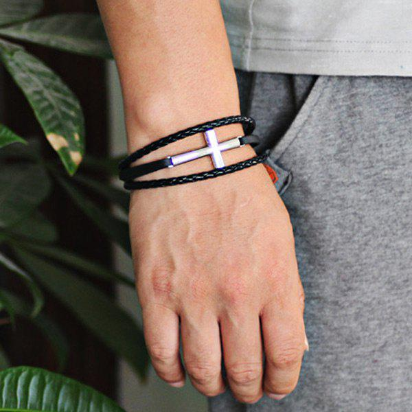 Faux Leather Braid Rope Cross BraceletJEWELRY<br><br>Color: SILVER; Gender: For Men; Chain Type: Leather Chain; Style: Trendy; Shape/Pattern: Cross; Length: 21.5CM; Weight: 0.0400kg; Package Contents: 1 x Bracelet;
