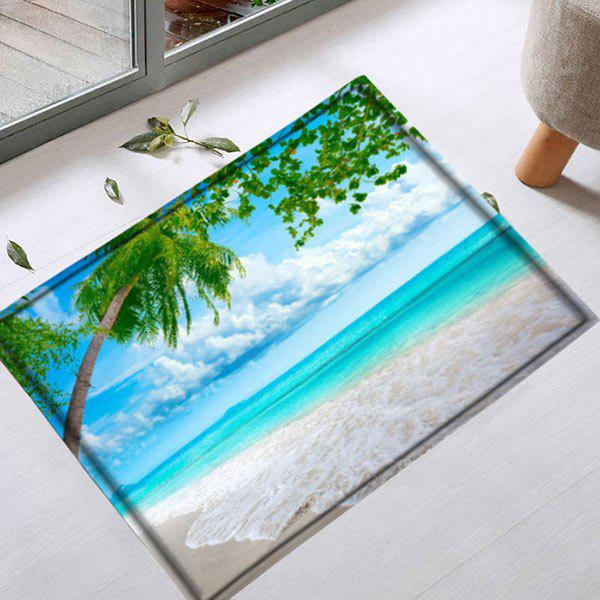 Antislip Beach Scenery Door Entrance Area RugHOME<br><br>Size: W16 INCH * L24 INCH; Color: LAKE BLUE; Products Type: Bath rugs; Materials: Flannel; Pattern: Scenic; Style: Beach Style; Shape: Rectangle; Package Contents: 1 x Rug;