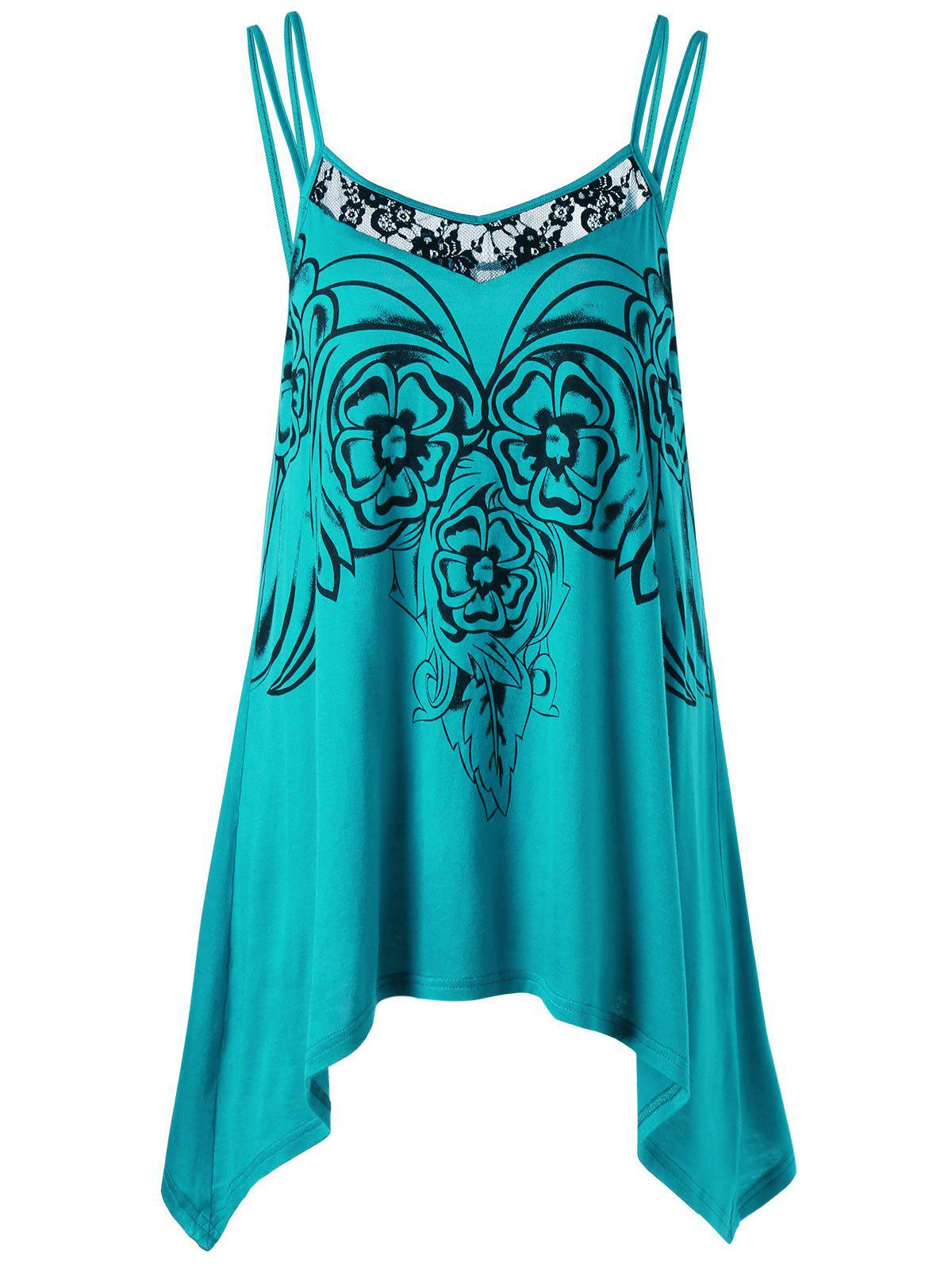 Asymmetric Plus Size Cami Tunic TopWOMEN<br><br>Size: 4XL; Color: BLUE; Material: Rayon; Shirt Length: Long; Sleeve Length: Sleeveless; Collar: Spaghetti Strap; Style: Casual; Season: Summer; Embellishment: Lace; Pattern Type: Floral; Weight: 0.2040kg; Package Contents: 1 x Top;