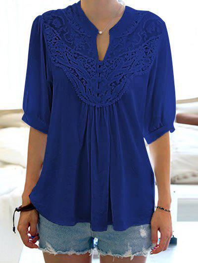 Half Sleeve Lace Splicing BlouseWOMEN<br><br>Size: ONE SIZE; Color: SAPPHIRE BLUE; Style: Casual; Material: Cotton,Polyester; Shirt Length: Regular; Sleeve Length: Half; Collar: Stand-Up Collar; Pattern Type: Patchwork; Weight: 0.1800kg; Package Contents: 1 x Blouse;