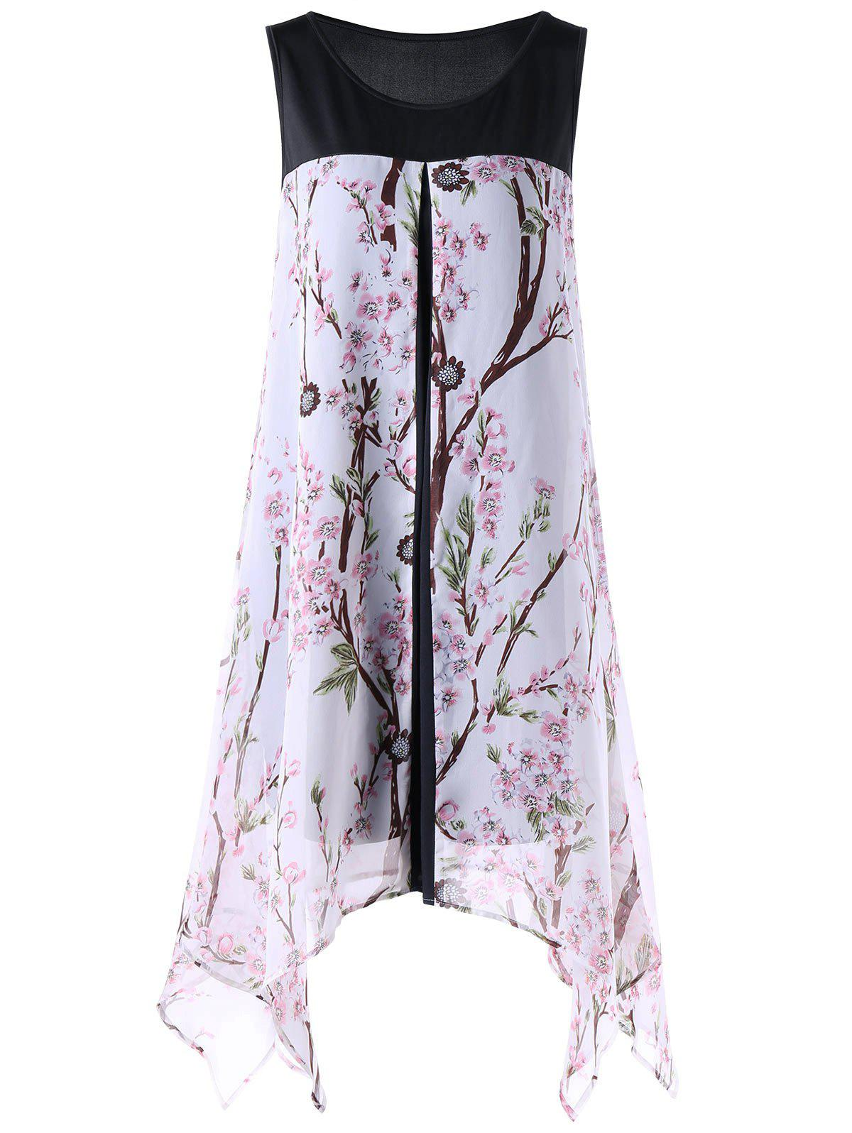Tiny Floral Sleeveless Plus Size Handkerchief DressWOMEN<br><br>Size: 5XL; Color: WHITE; Style: Brief; Material: Polyester; Silhouette: Straight; Dresses Length: Knee-Length; Neckline: Round Collar; Sleeve Length: Sleeveless; Pattern Type: Floral; With Belt: No; Season: Summer; Weight: 0.3500kg; Package Contents: 1 x Dress;