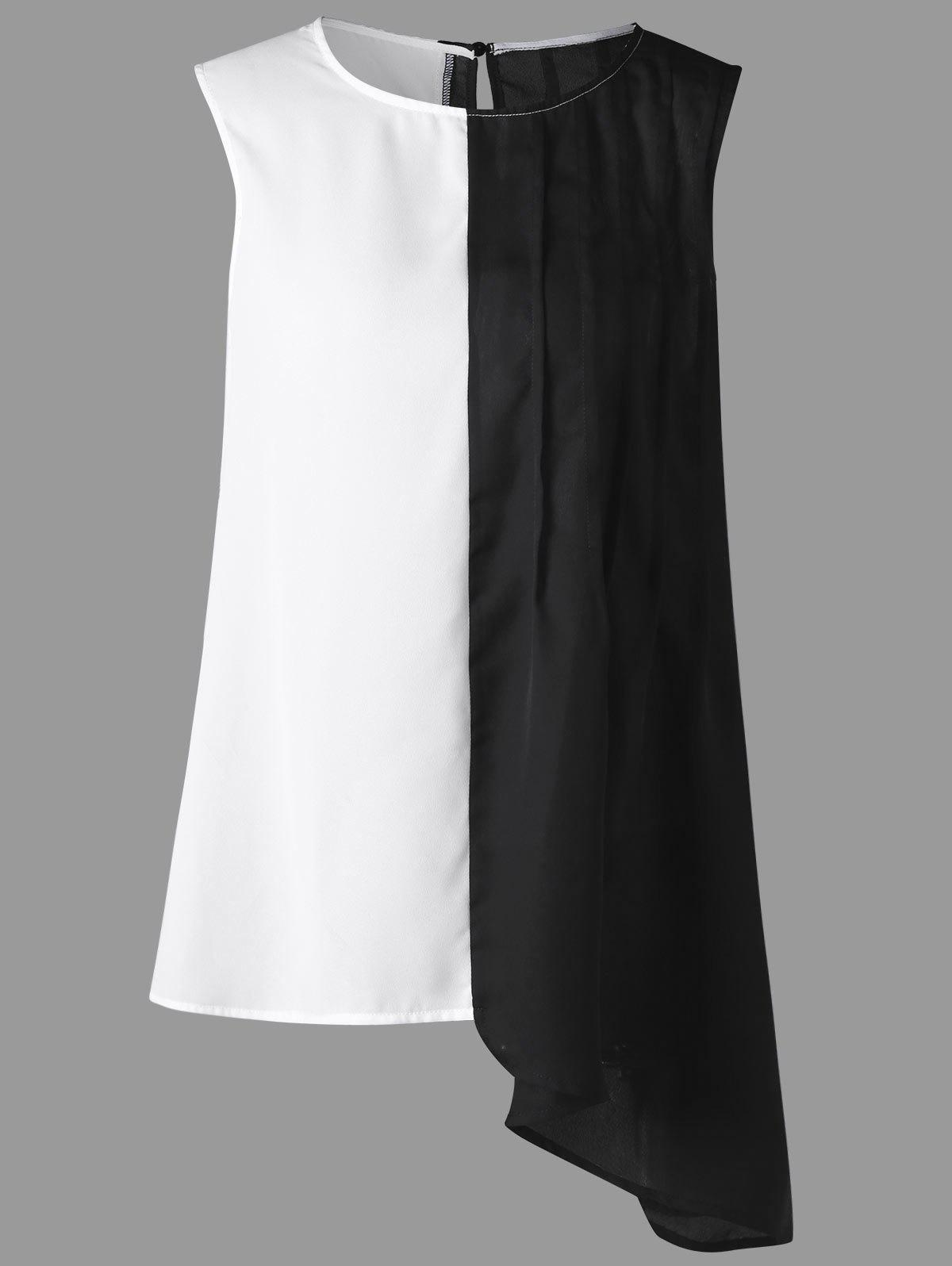 Plus Size Sleeveless Two Tone Asymmetrical BlouseWOMEN<br><br>Size: 4XL; Color: WHITE AND BLACK; Material: Polyester; Shirt Length: Regular; Sleeve Length: Sleeveless; Collar: Round Neck; Style: Fashion; Season: Summer; Pattern Type: Solid; Weight: 0.1900kg; Package Contents: 1 x Blouse;