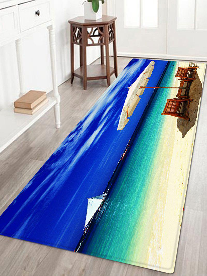 Beach Holiday Sea Pattern Anti-skid Water Absorption Area RugHOME<br><br>Size: W16 INCH * L47 INCH; Color: BLUE; Products Type: Bath rugs; Materials: Flannel,Sponge; Style: Beach Style; Shape: Rectangle; Package Contents: 1 x Rug;