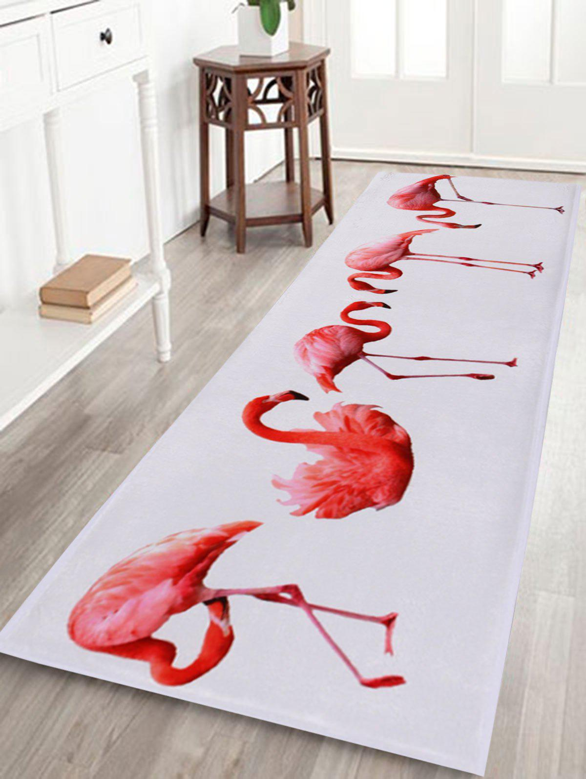 Flamingo Floor Coral Velvet Bath RugHOME<br><br>Size: W24 INCH * L71 INCH; Color: WHITE; Products Type: Bath rugs; Materials: Coral FLeece; Pattern: Animal; Style: Trendy; Shape: Rectangle; Package Contents: 1 x Rug;