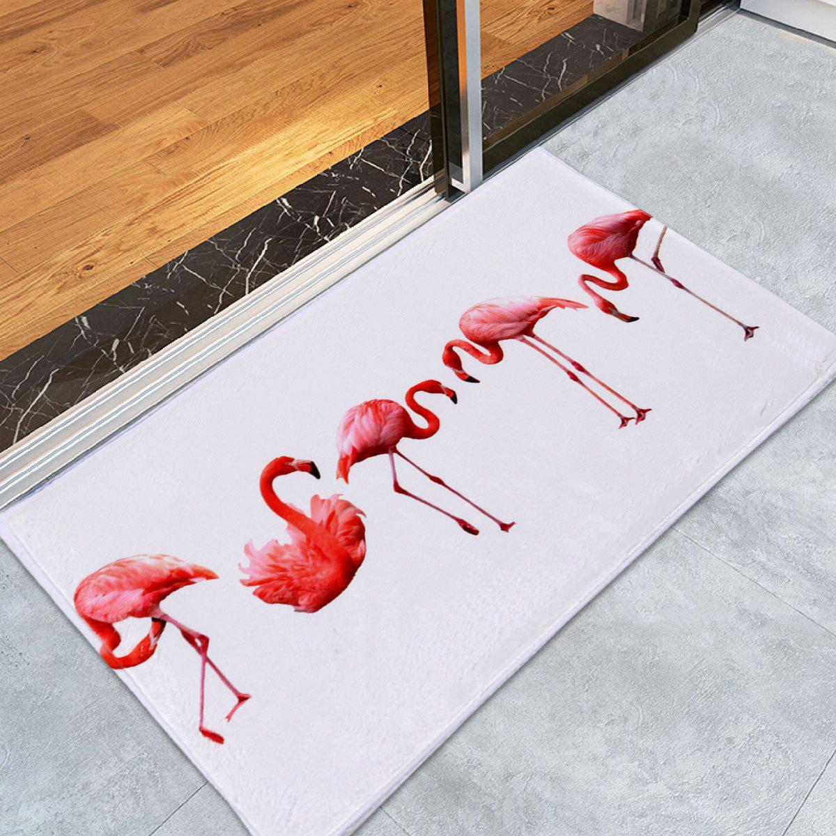Flamingo Floor Coral Velvet Bath RugHOME<br><br>Size: W24 INCH * L35.5 INCH; Color: WHITE; Products Type: Bath rugs; Materials: Coral FLeece; Pattern: Animal; Style: Trendy; Shape: Rectangle; Package Contents: 1 x Rug;