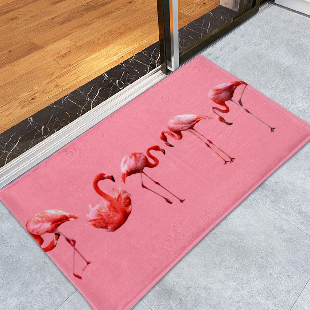 Flamingo Floor Coral Velvet Bath RugHOME<br><br>Size: W24 INCH * L35.5 INCH; Color: PINK; Products Type: Bath rugs; Materials: Coral FLeece; Pattern: Animal; Style: Trendy; Shape: Rectangle; Package Contents: 1 x Rug;