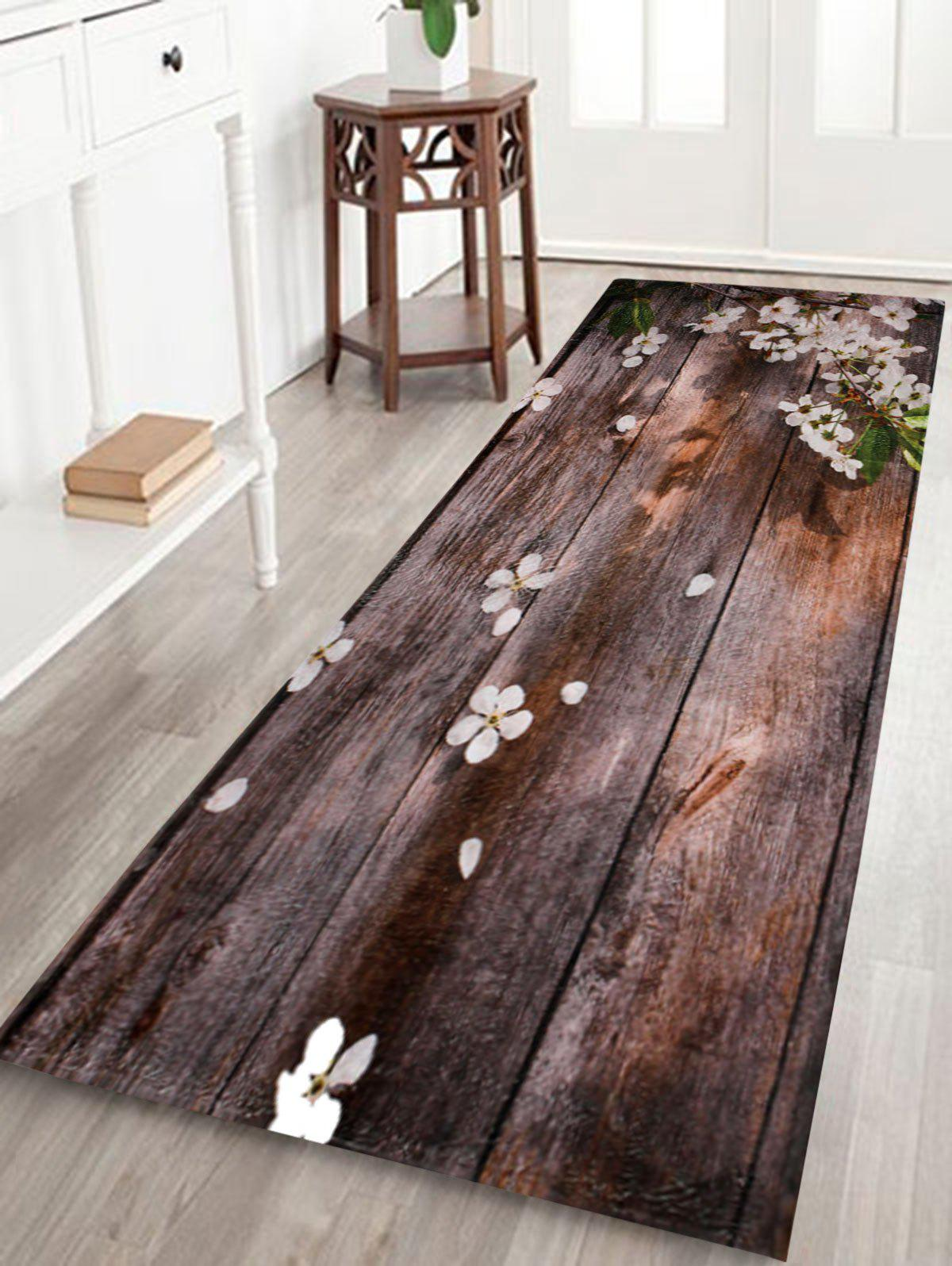 Coral Fleece Vintage Plank Floral Bathroom RugHOME<br><br>Size: W16 INCH * L47 INCH; Color: BROWN; Products Type: Bath rugs; Materials: Coral FLeece; Pattern: Floral; Style: Vintage; Shape: Rectangle; Package Contents: 1 x Rug;