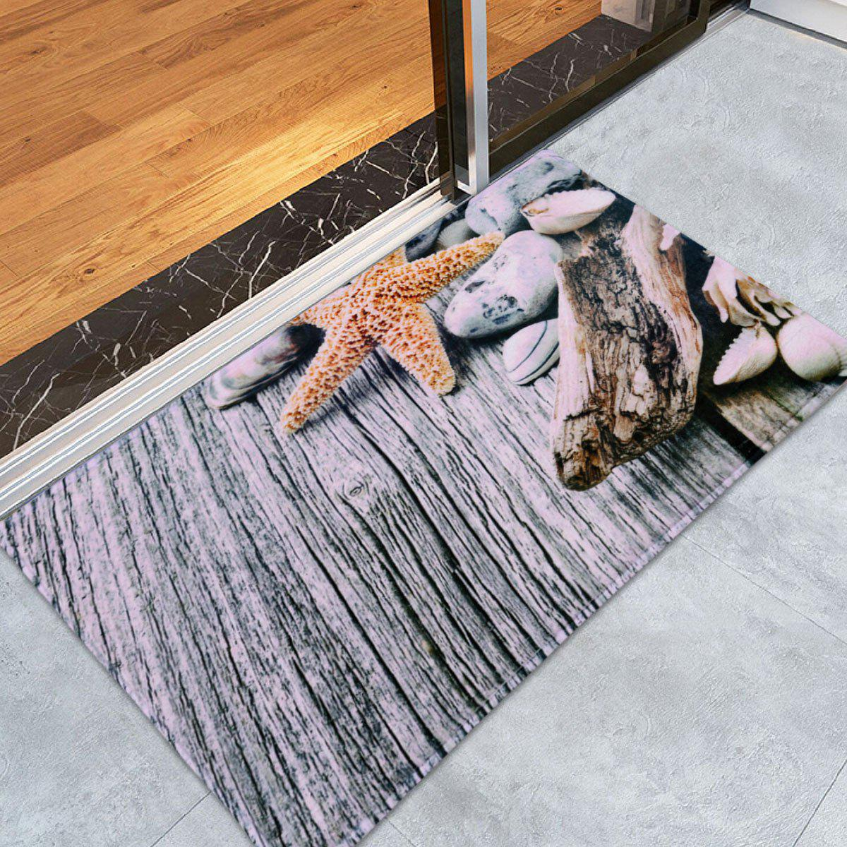 Starfish Coral Fleece Room Entrance Floor MatHOME<br><br>Size: W16 INCH * L24 INCH; Color: GRAY; Products Type: Bath Mats; Materials: Coral FLeece; Pattern: Print; Style: Vintage; Shape: Rectangle; Package Contents: 1 x Mat;