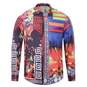 Color Block Panel Cover Placket Floral Print Shirt