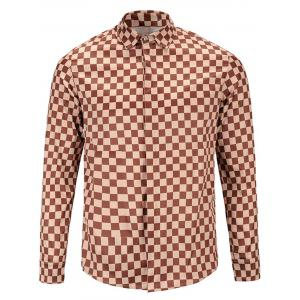 Long Sleeve Cover Placket Vintage Checked Shirt - Earthy - 2xl