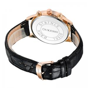OUKESHI Faux Leather Strap Tachymeter Quartz Watch - BLACK