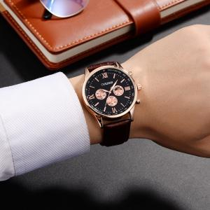 OUKESHI Faux Leather Strap Tachymeter Quartz Watch - BLACK AND BROWN