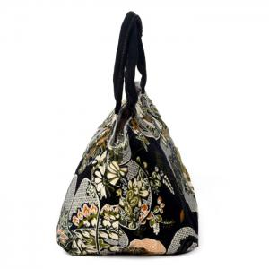 Linen Ethnic Printed Tote Bag - BLACK