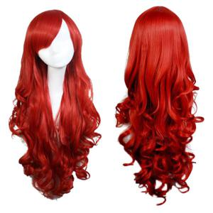 Long Side Bang Wavy Cosplay Anime Synthetic Wigs - Red