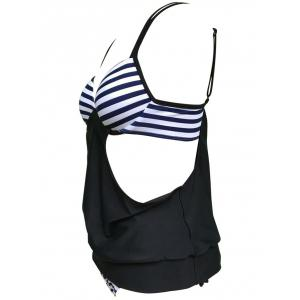 Striped Cross Back Blouson Tankini Set -