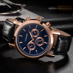 OUKESHI Number Faux Leather Strap Analog Watch - Bleu et Noir
