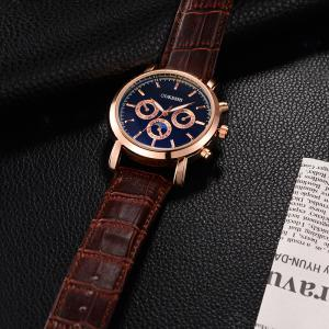 OUKESHI Number Faux Leather Strap Analog Watch - BLUE / BROWN