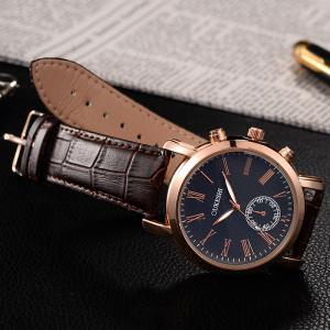 OUKESHI Roman Numeral Faux Leather Strap Formal Watch - BLUE / BROWN